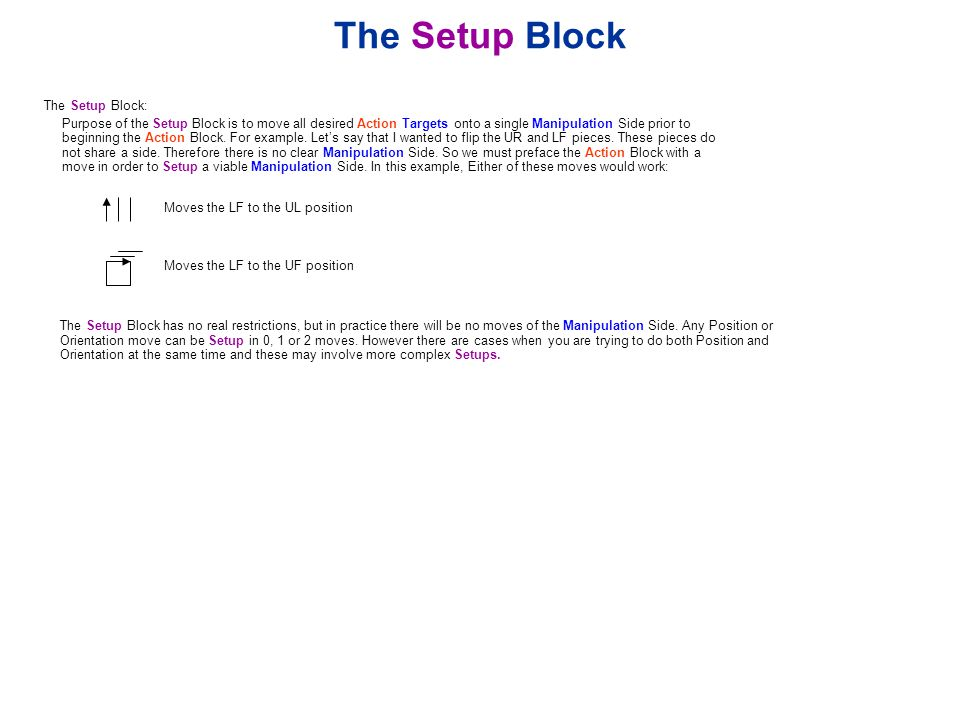 The Setup Block The Setup Block: