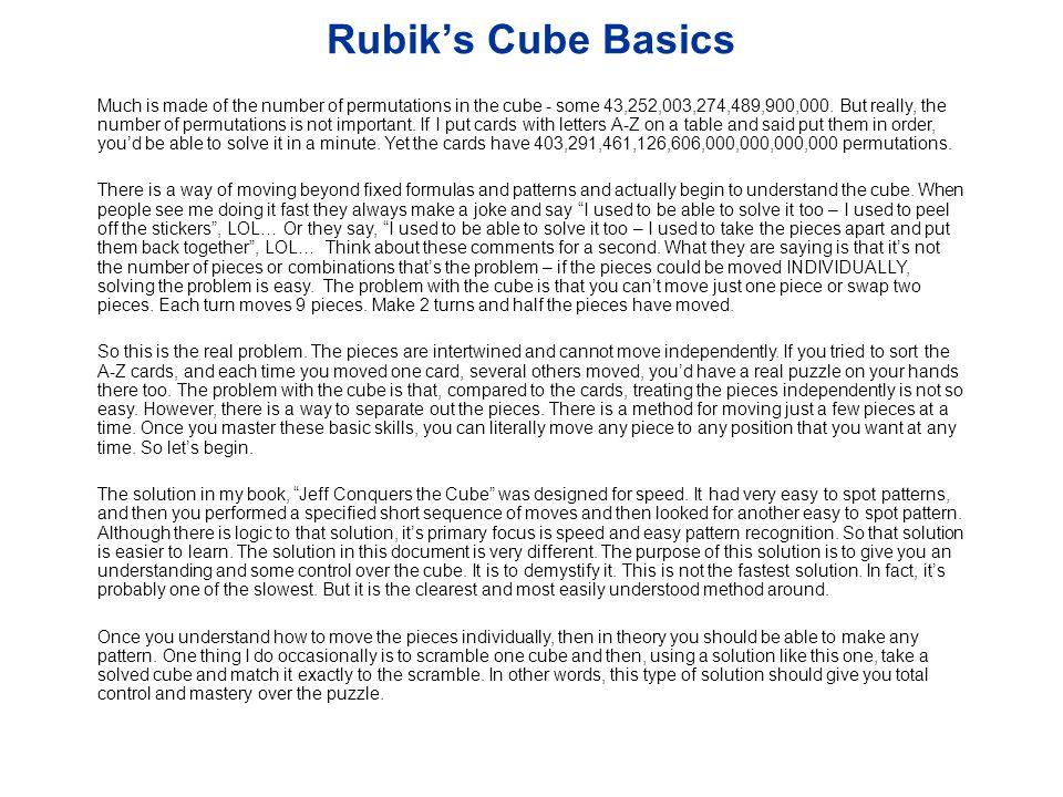 Rubik's Cube Basics