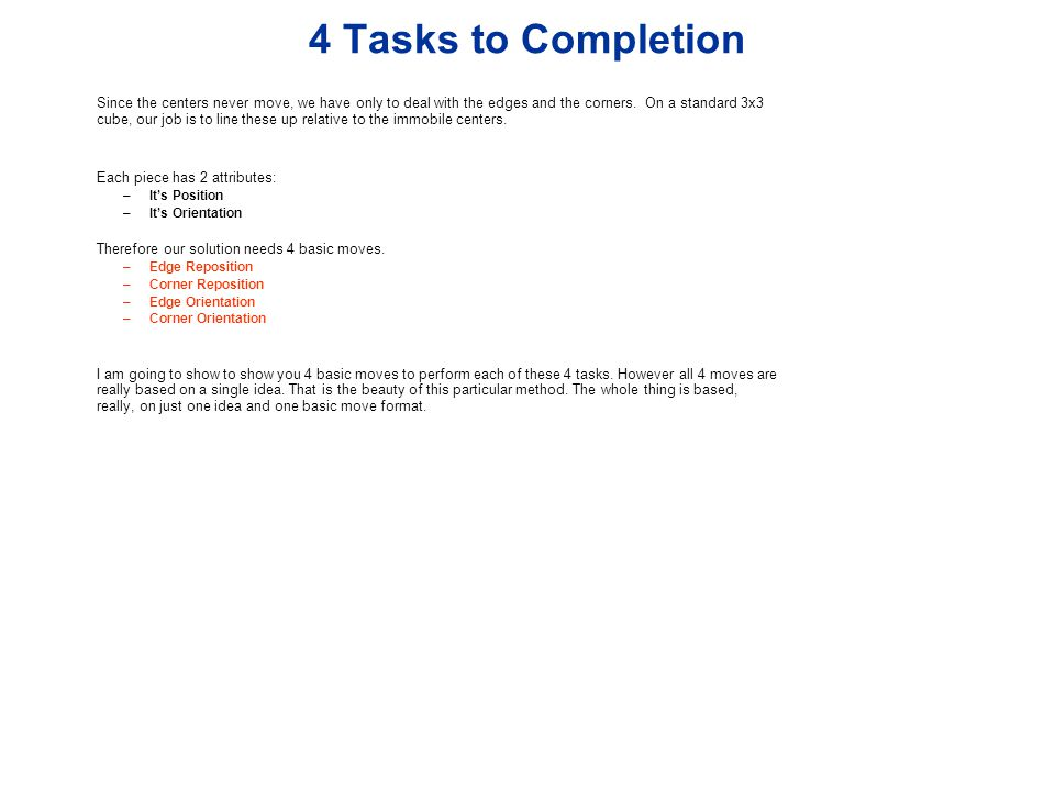 4 Tasks to Completion
