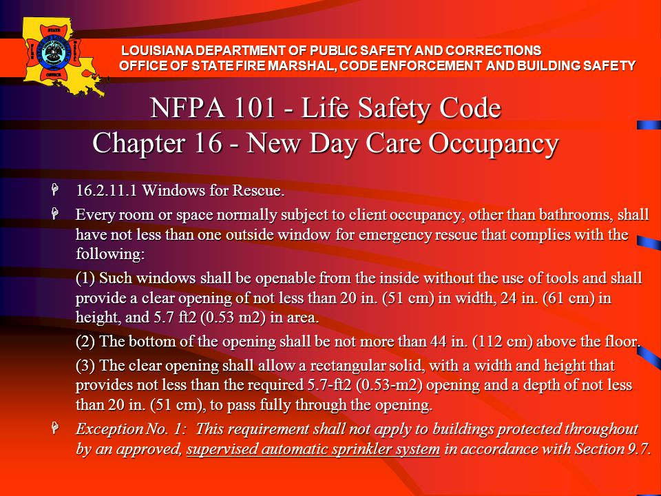 NFPA Life Safety Code Chapter 16 - New Day Care Occupancy