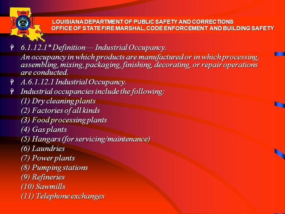 6.1.12.1* Definition — Industrial Occupancy.