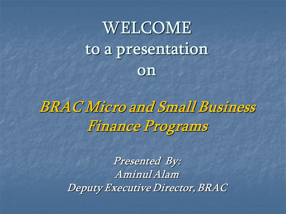 WELCOME to a presentation on BRAC Micro and Small Business Finance Programs Presented By: Aminul Alam Deputy Executive Director, BRAC