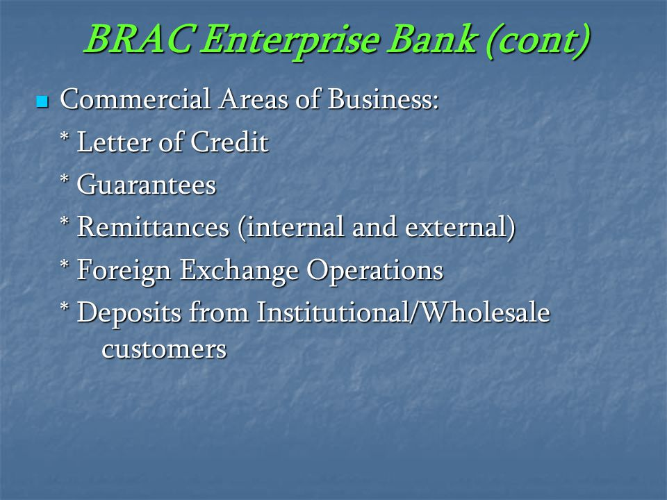 BRAC Enterprise Bank (cont)