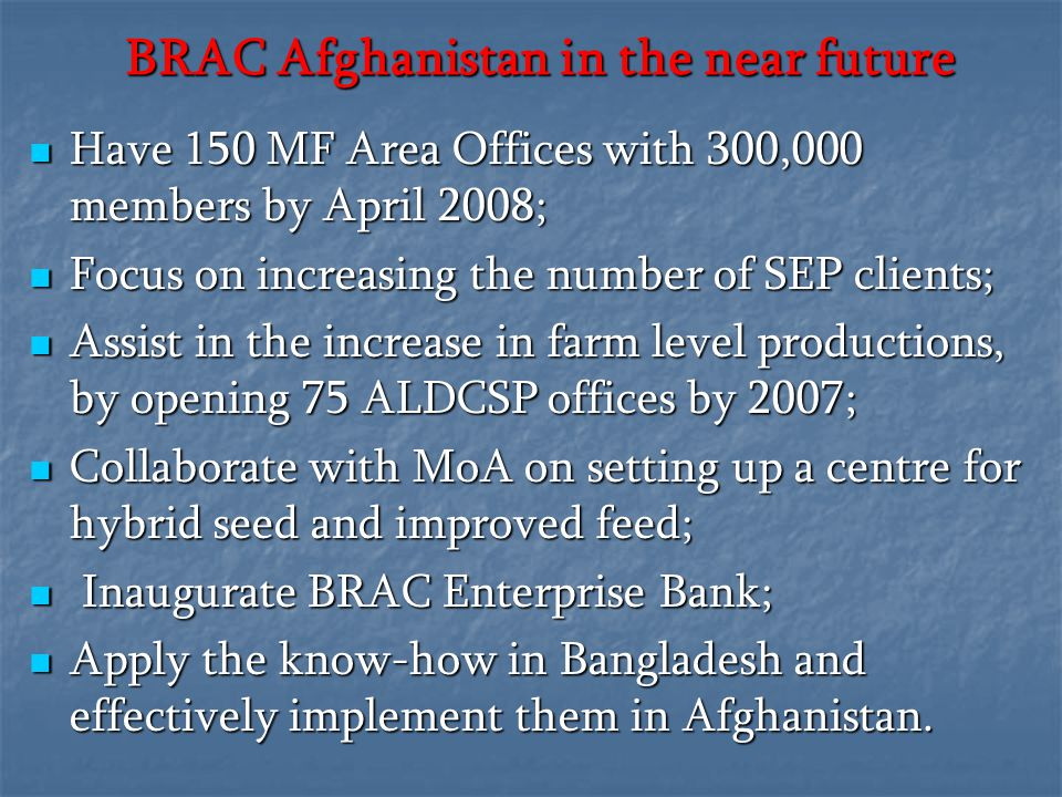 BRAC Afghanistan in the near future