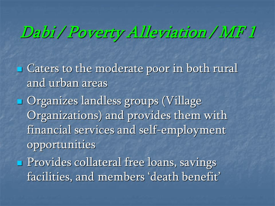 Dabi / Poverty Alleviation / MF 1