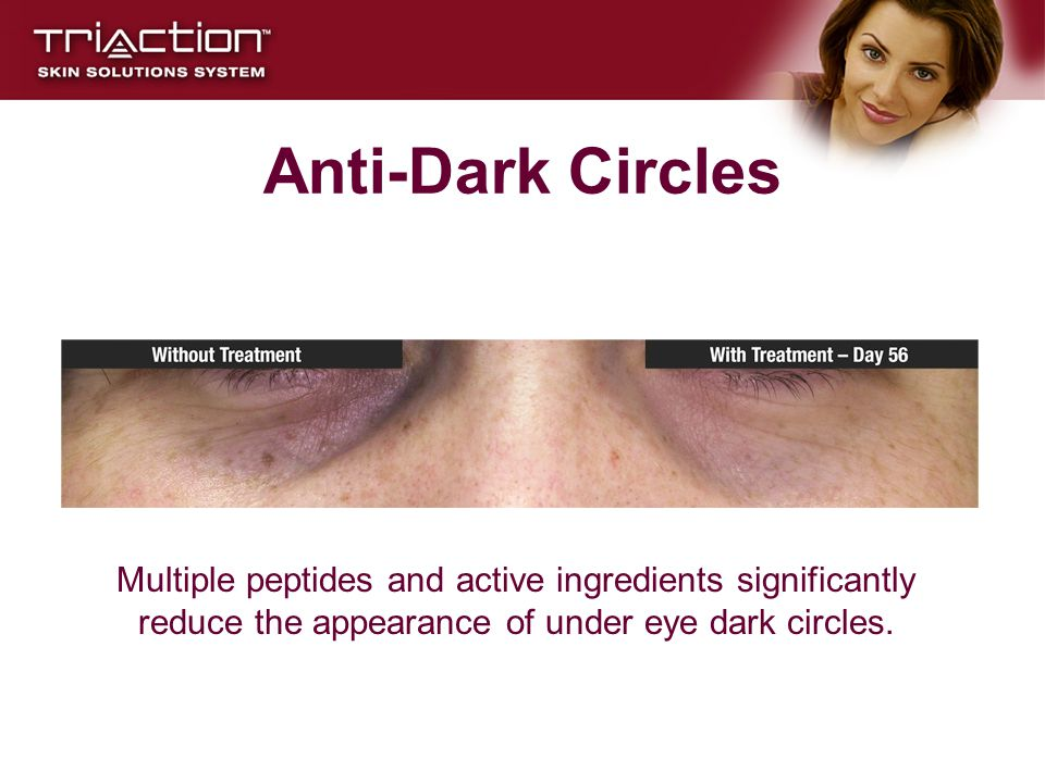 Anti-Dark Circles Multiple peptides and active ingredients significantly reduce the appearance of under eye dark circles.