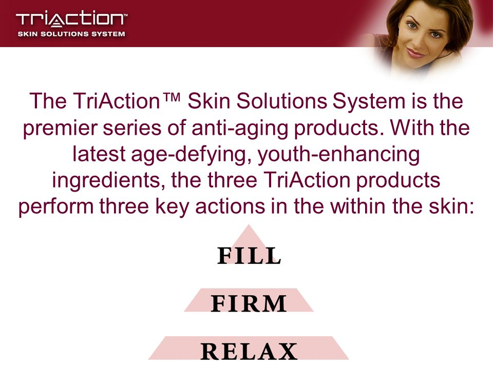 The TriAction™ Skin Solutions System is the premier series of anti-aging products.