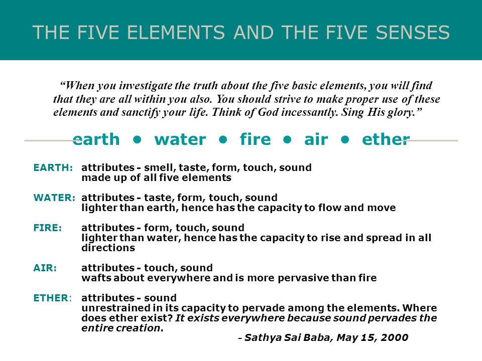earth • water • fire • air • ether