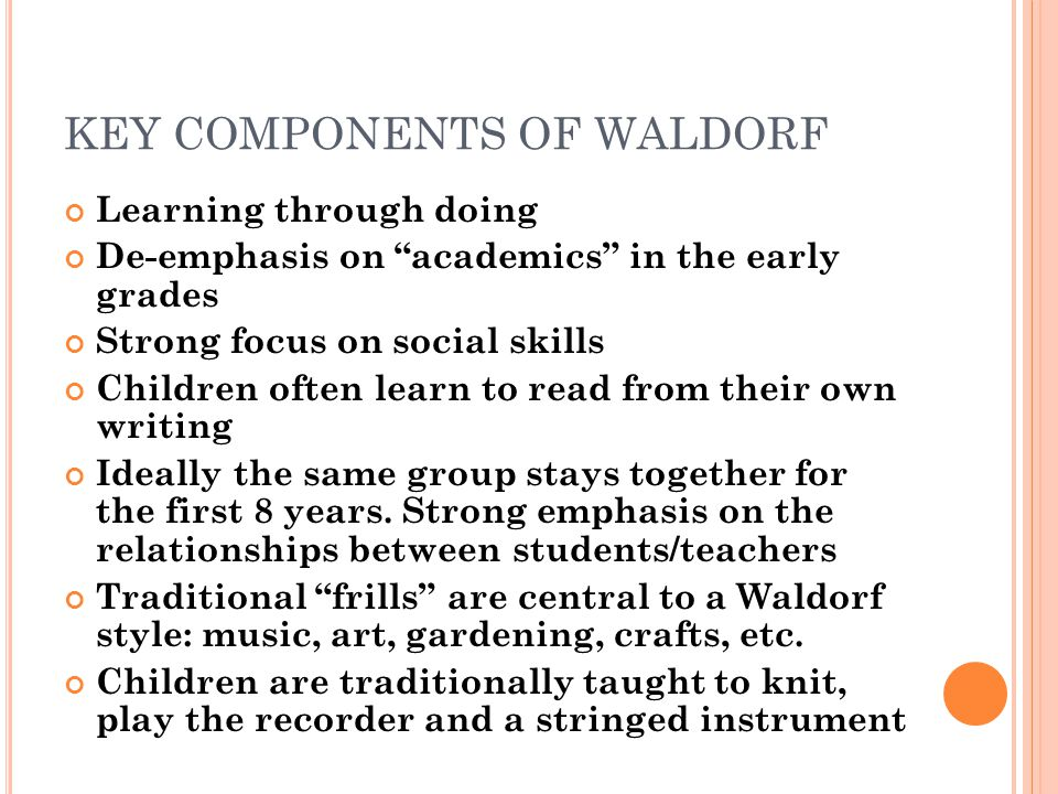 KEY COMPONENTS OF WALDORF