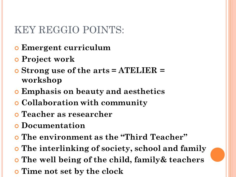 KEY REGGIO POINTS: Emergent curriculum Project work