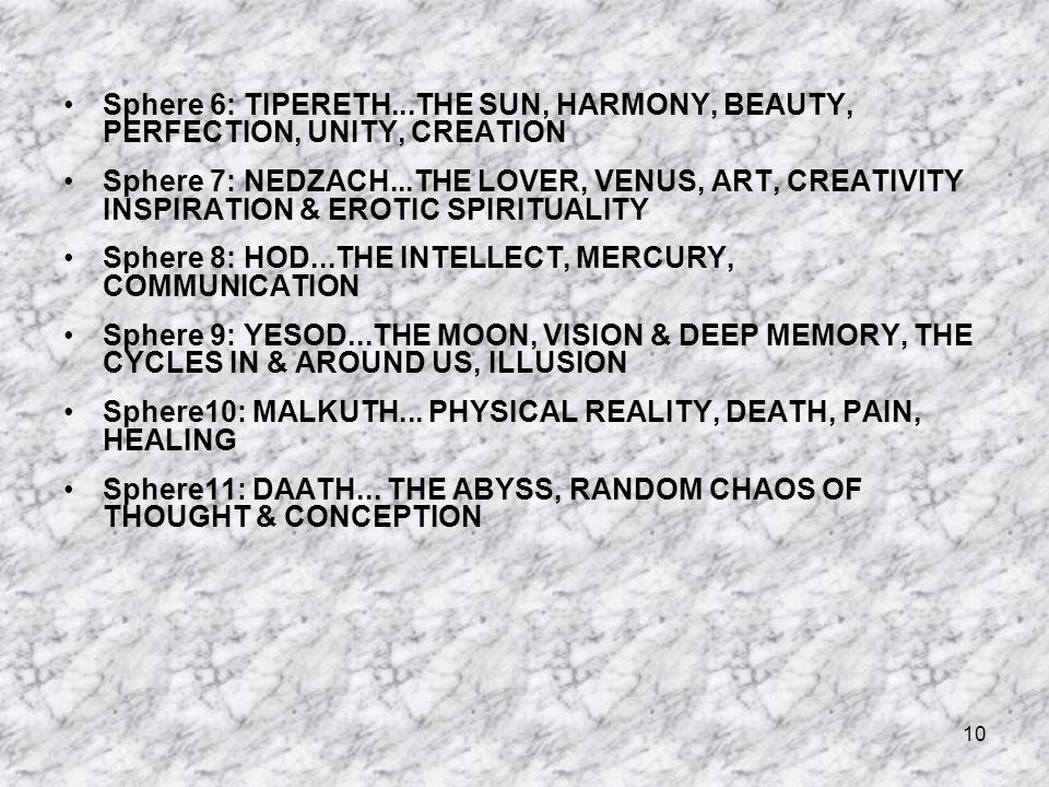 Sphere 6: TIPERETH...THE SUN, HARMONY, BEAUTY, PERFECTION, UNITY, CREATION