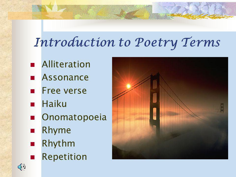 Introduction to Poetry Terms