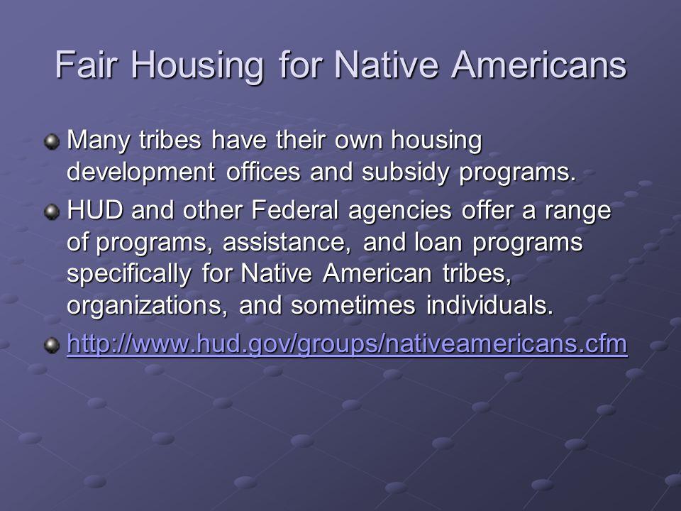 Fair Housing for Native Americans