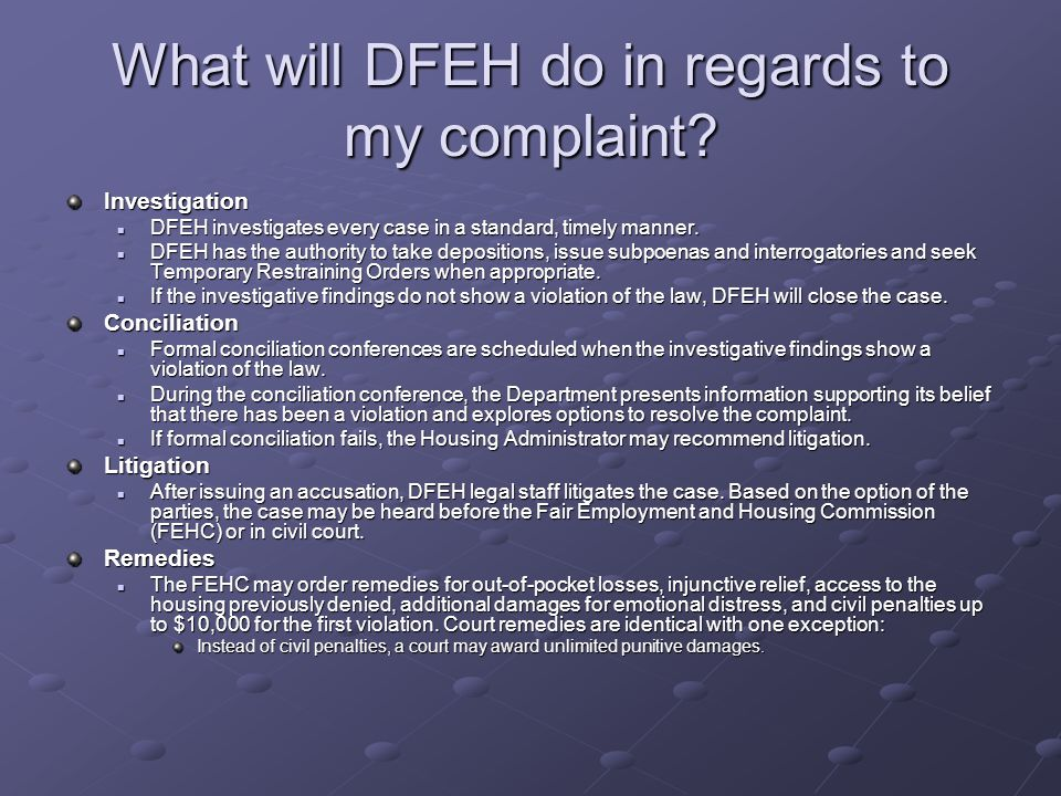 What will DFEH do in regards to my complaint