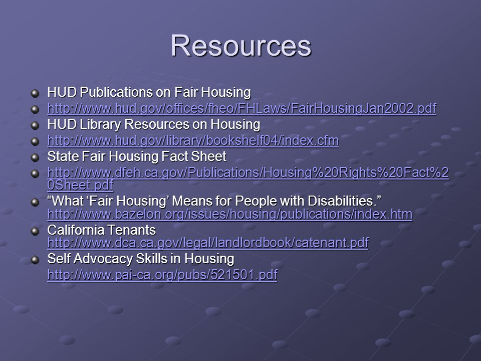Resources HUD Publications on Fair Housing