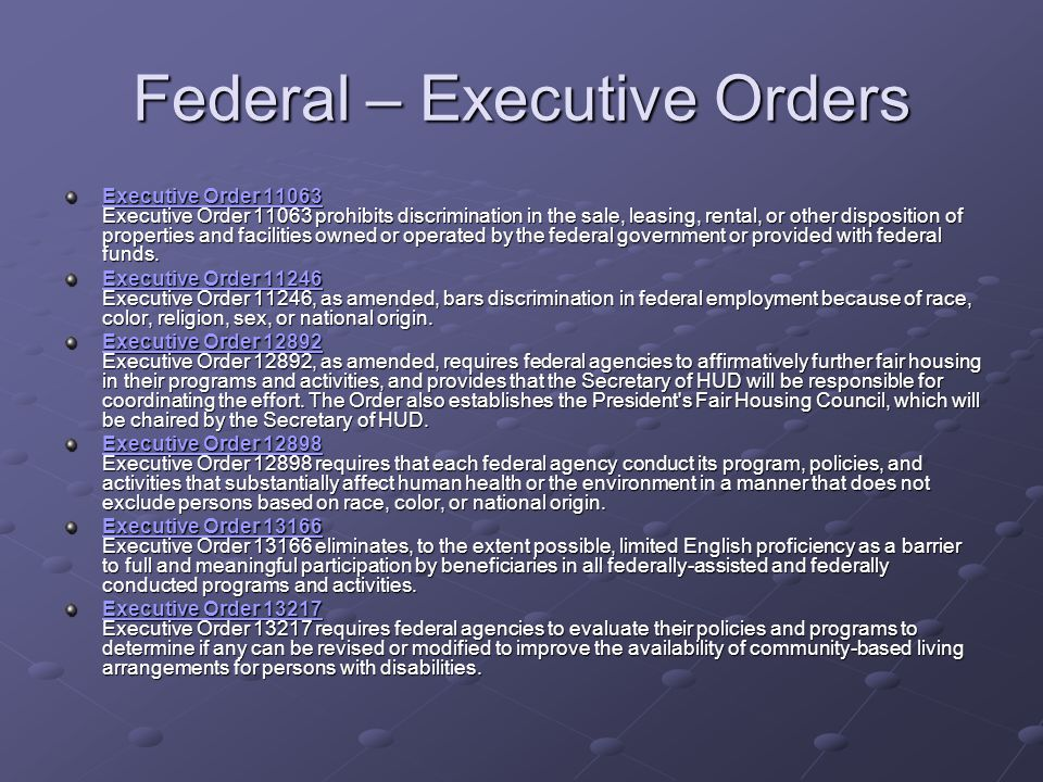 Federal – Executive Orders