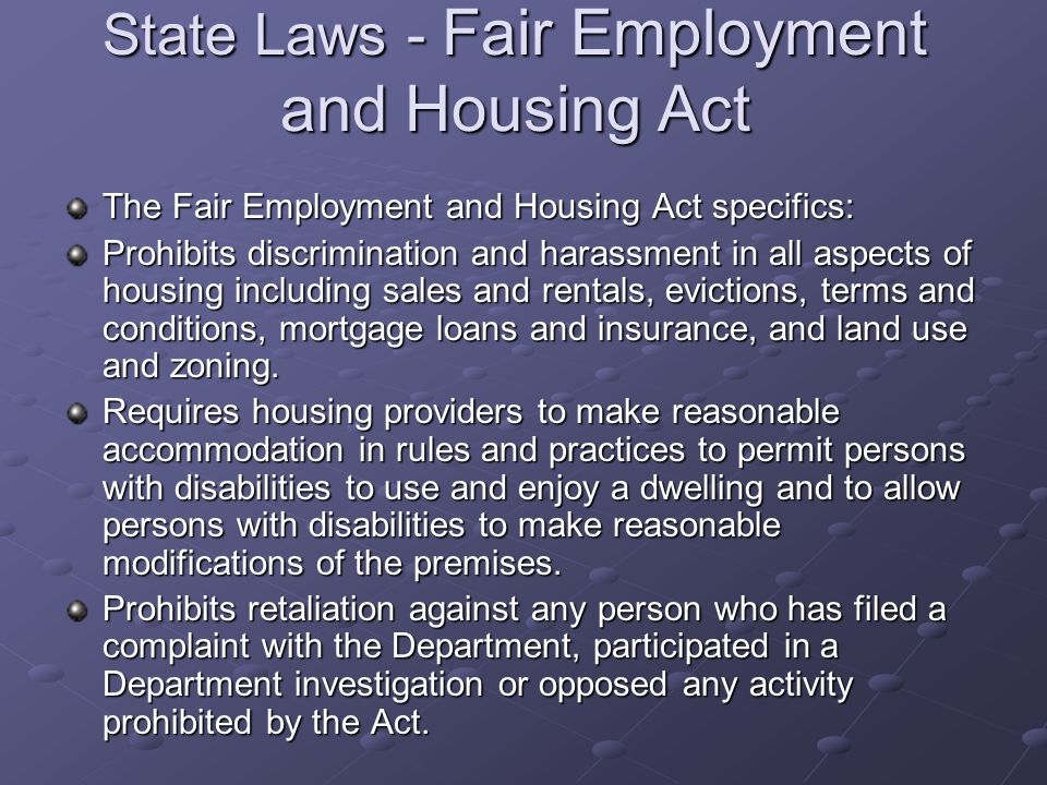 State Laws - Fair Employment and Housing Act