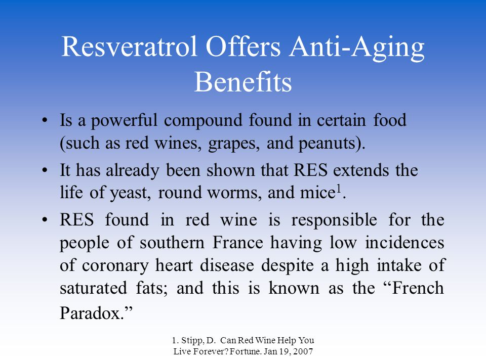 Resveratrol Offers Anti-Aging Benefits