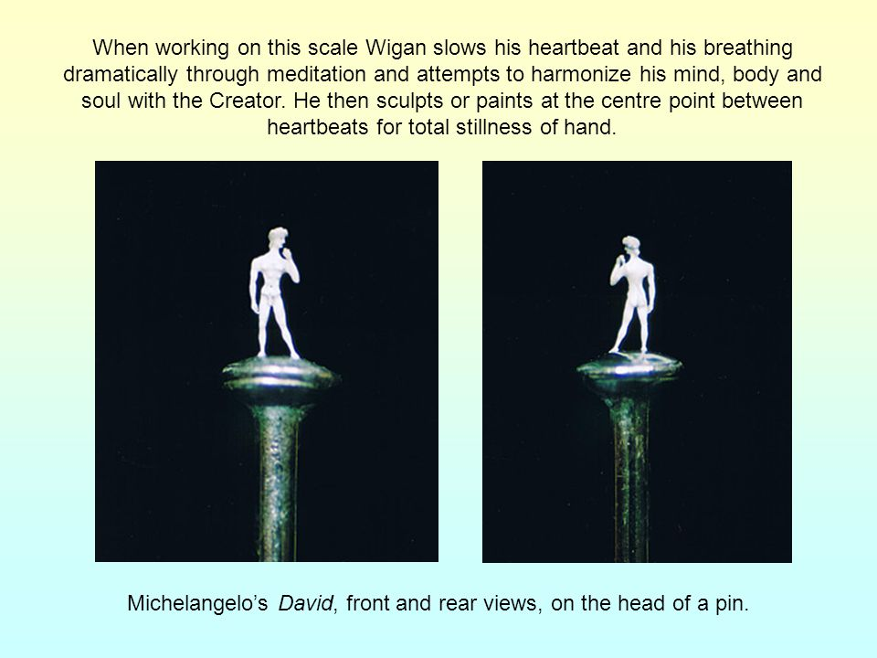 Michelangelo's David, front and rear views, on the head of a pin.
