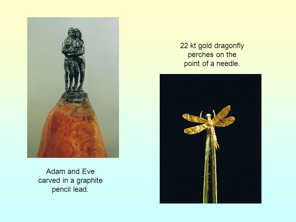 22 kt gold dragonfly perches on the point of a needle.