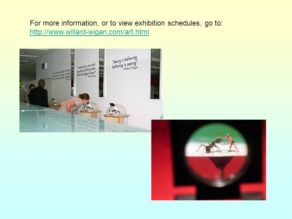 For more information, or to view exhibition schedules, go to: http://www.willard-wigan.com/art.html