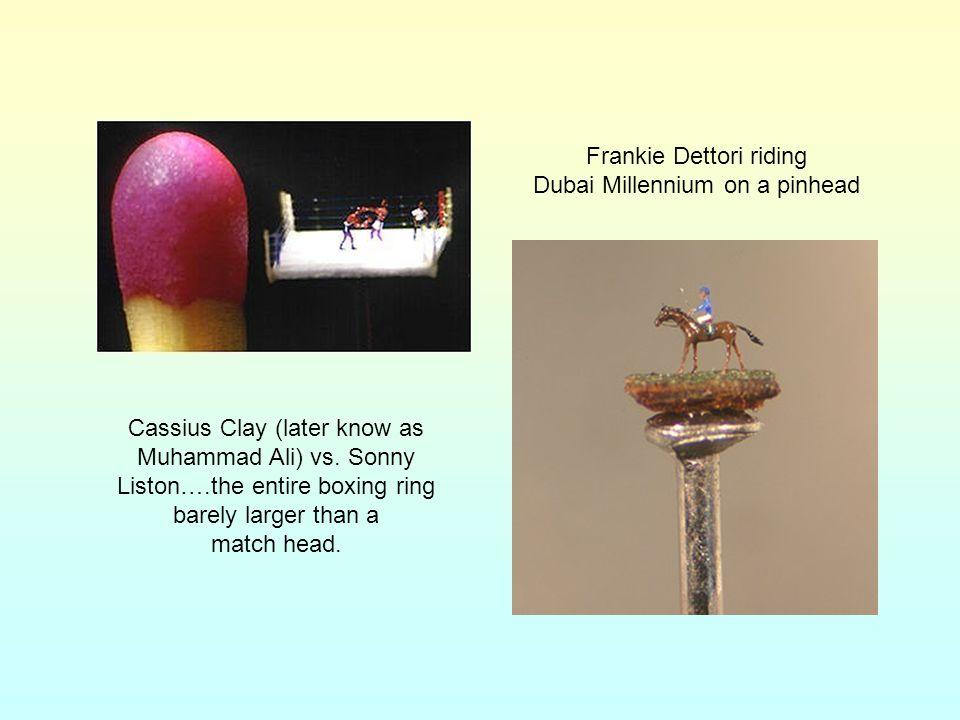 Frankie Dettori riding Dubai Millennium on a pinhead