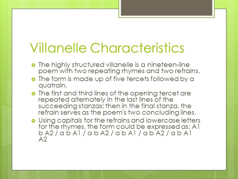 Villanelle Characteristics