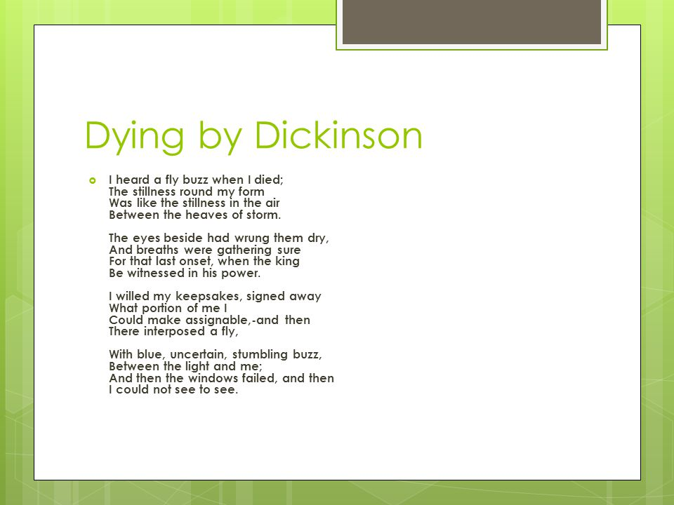 Dying by Dickinson
