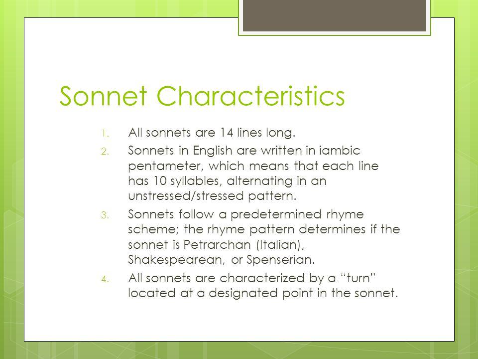 Sonnet Characteristics