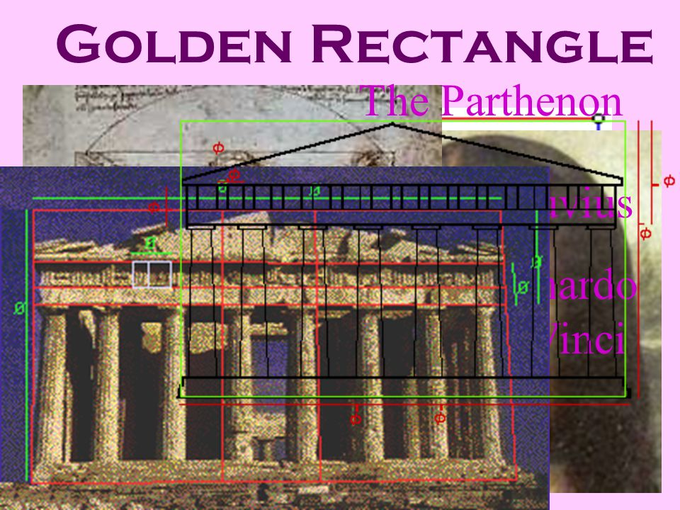 Golden Rectangle The Parthenon Leonardo Da Vinci Mona Lisa Vitruvius