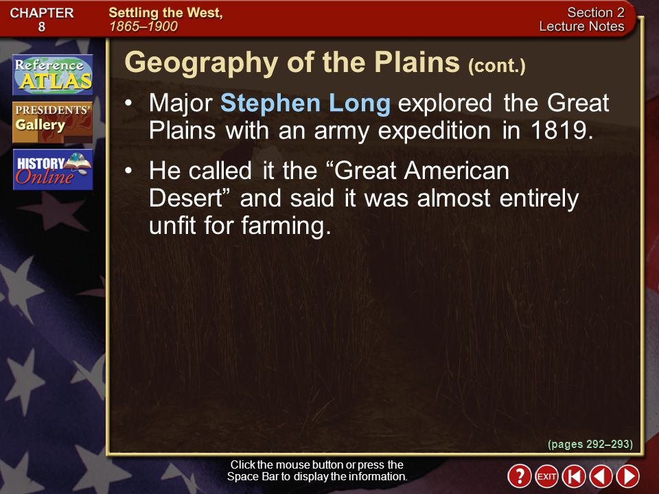 Geography of the Plains (cont.)