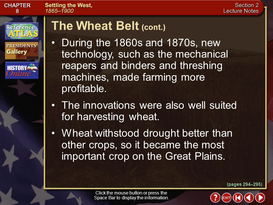 The Wheat Belt (cont.)