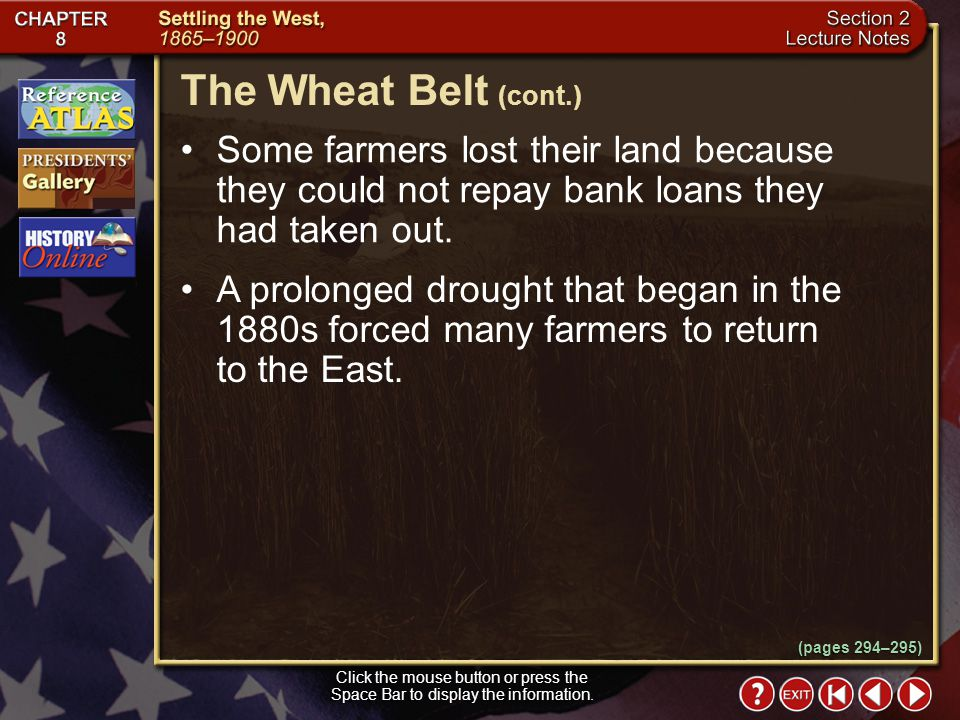 The Wheat Belt (cont.) Some farmers lost their land because they could not repay bank loans they had taken out.