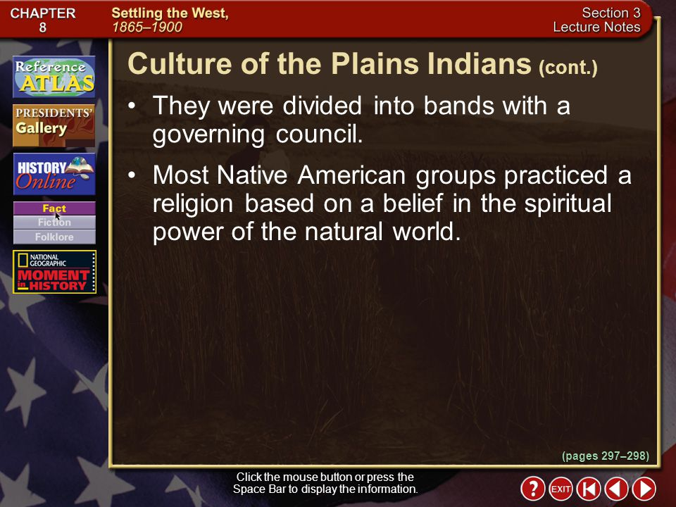 Culture of the Plains Indians (cont.)