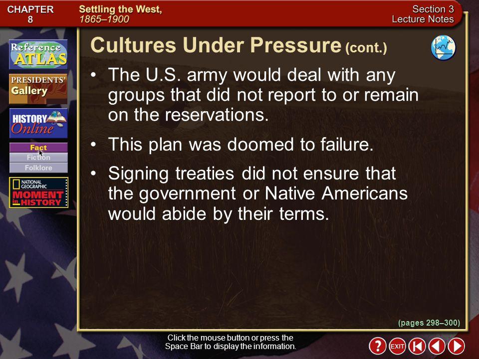 Cultures Under Pressure (cont.)
