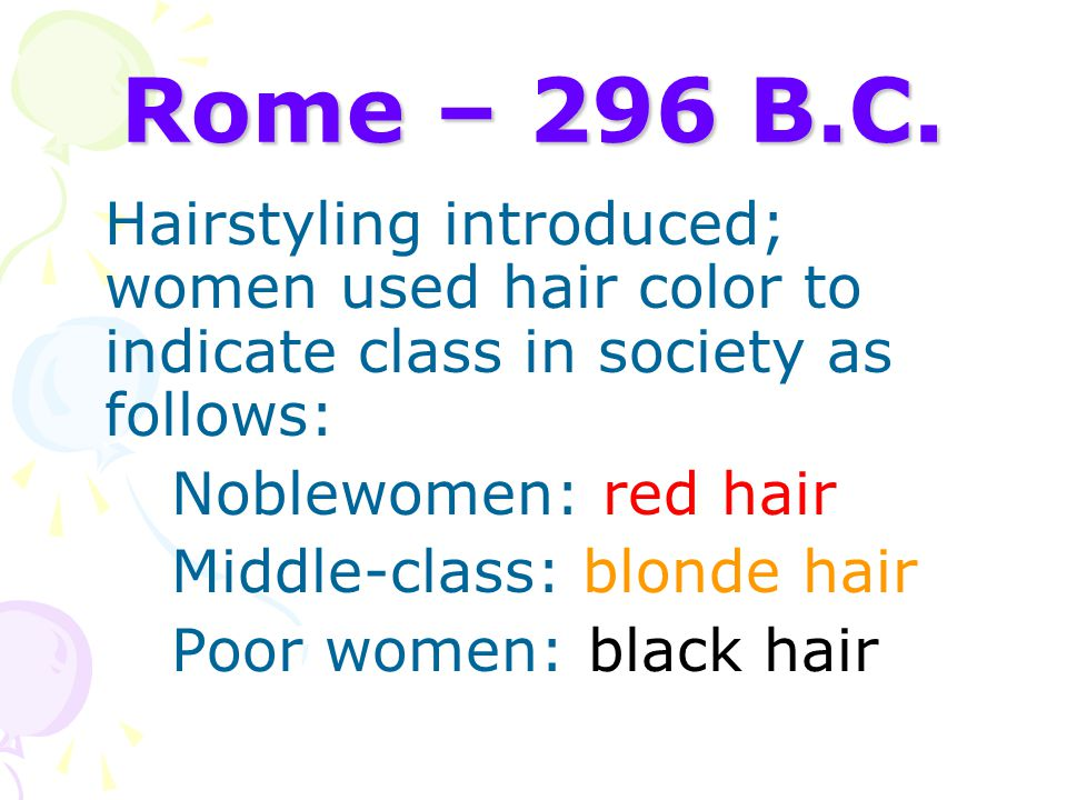 Rome – 296 B.C. Noblewomen: red hair Middle-class: blonde hair