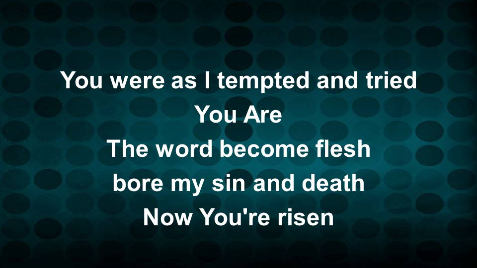 You were as I tempted and tried You Are The word become flesh bore my sin and death Now You re risen