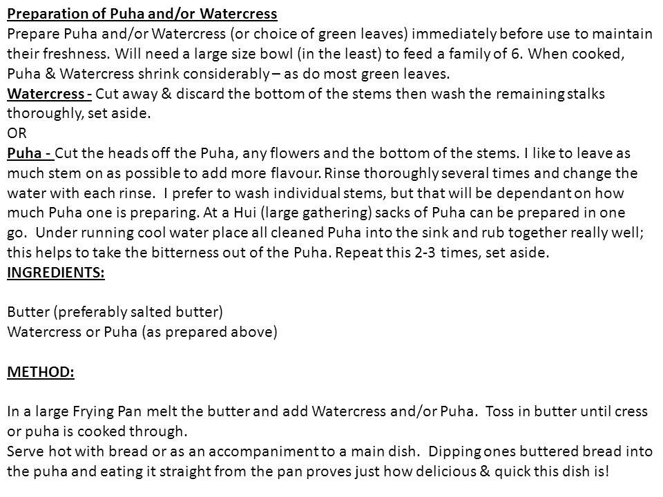 Preparation of Puha and/or Watercress