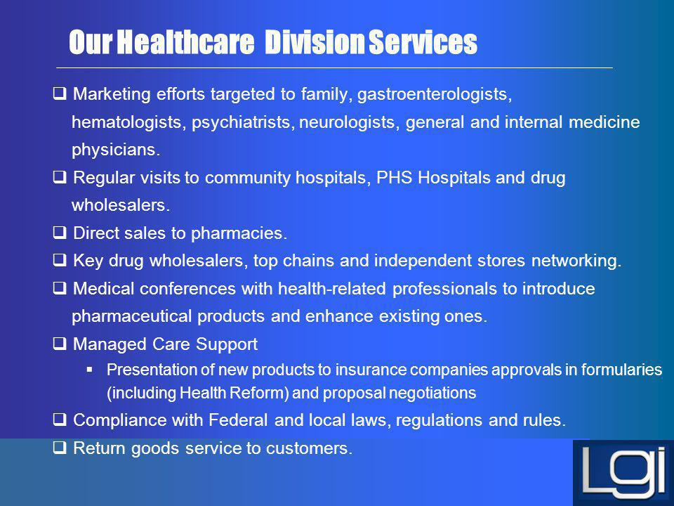 Our Healthcare Division Services