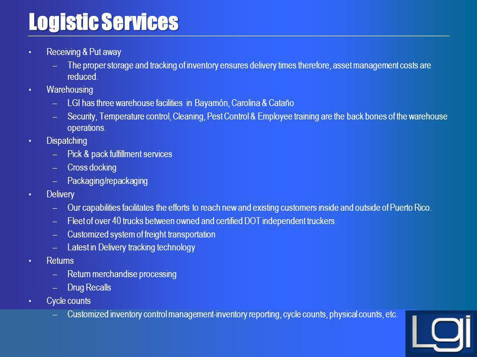 Logistic Services Receiving & Put away