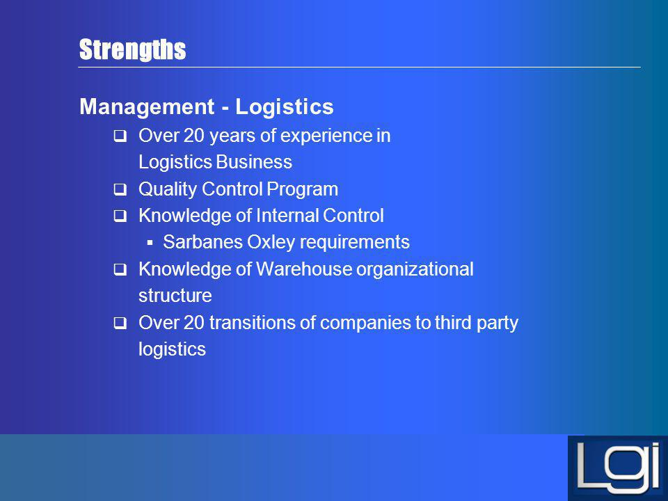 Strengths Management - Logistics Over 20 years of experience in