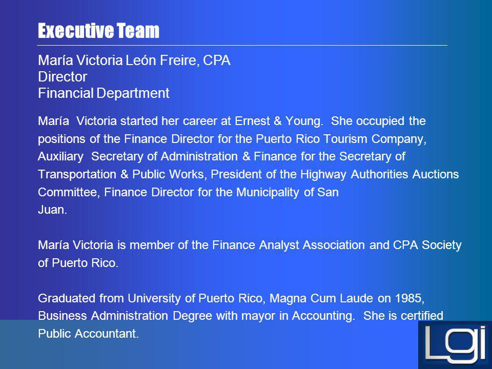 Executive Team María Victoria León Freire, CPA Director