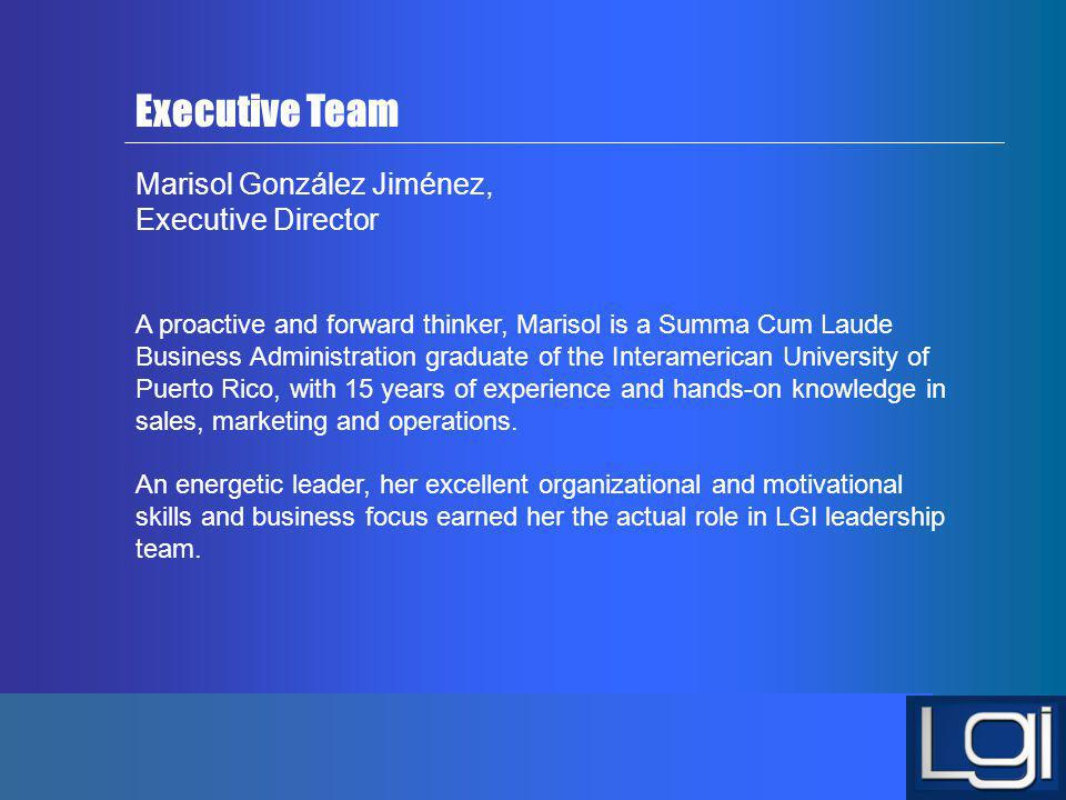 Executive Team Marisol González Jiménez, Executive Director