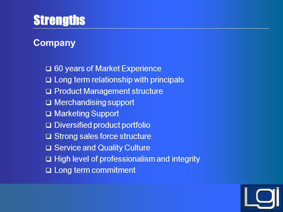 Strengths Company 60 years of Market Experience