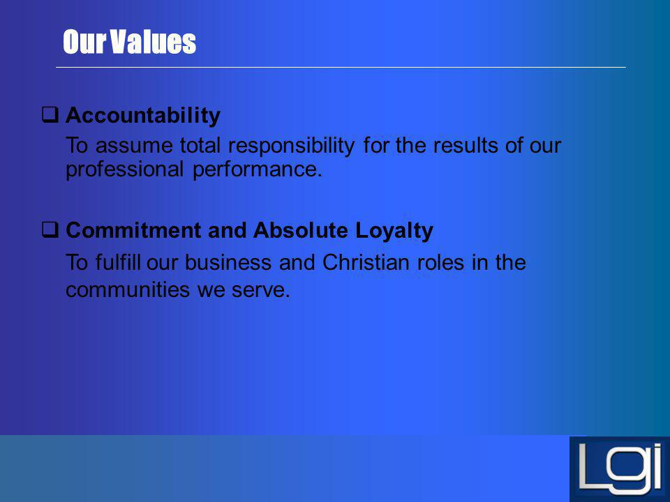 Our Values Accountability