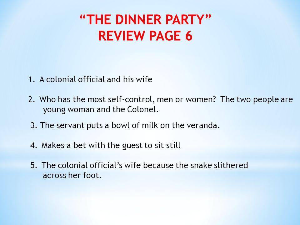 THE DINNER PARTY REVIEW PAGE 6
