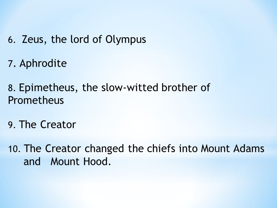 6. Zeus, the lord of Olympus