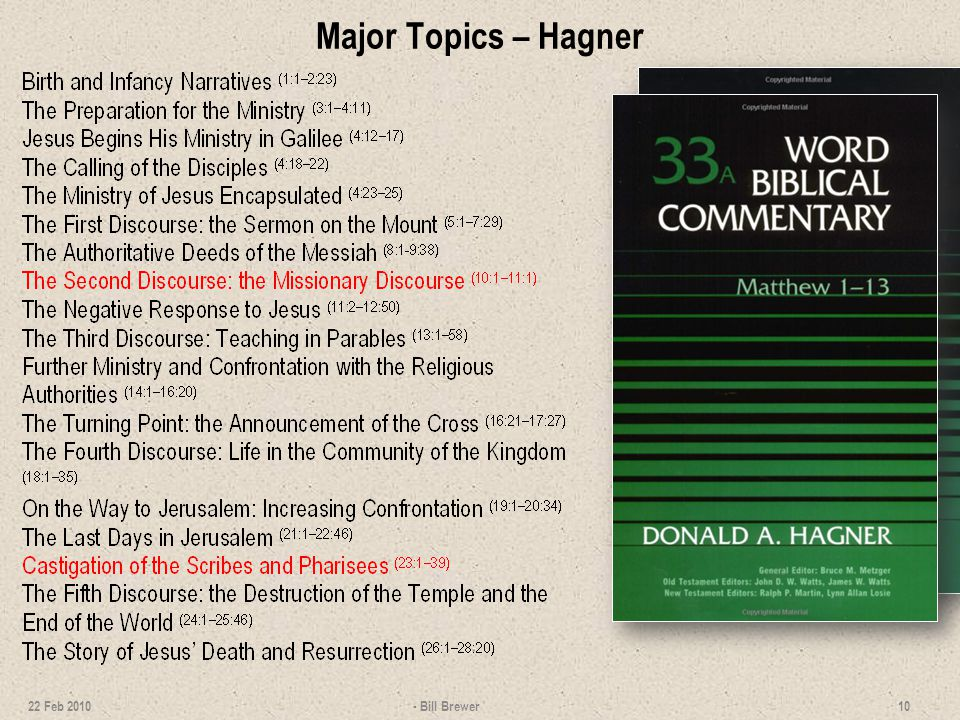 Major Topics – Hagner 22 Feb 2010 - Bill Brewer