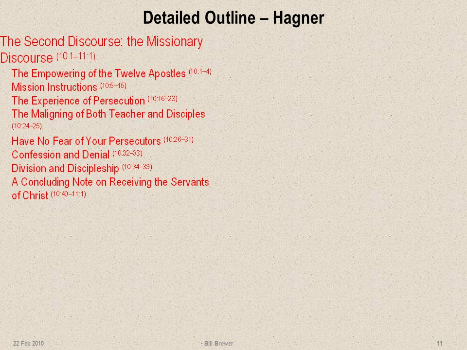 Detailed Outline – Hagner