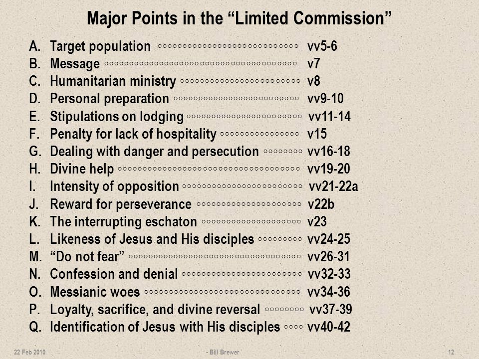 Major Points in the Limited Commission